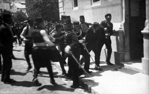 The arrest of Gavrilo Princip (or maybe of Ferdinand Behr, a bystander).