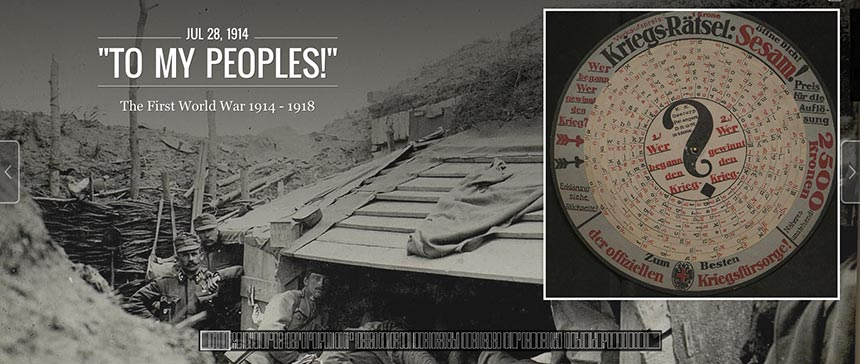 Screenshot of virtual exhibition, To My Peoples: The First World War 1914-1918