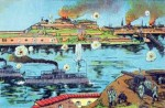 Bombardment of Belgrade, picture sheet by printers Robrahn and Co