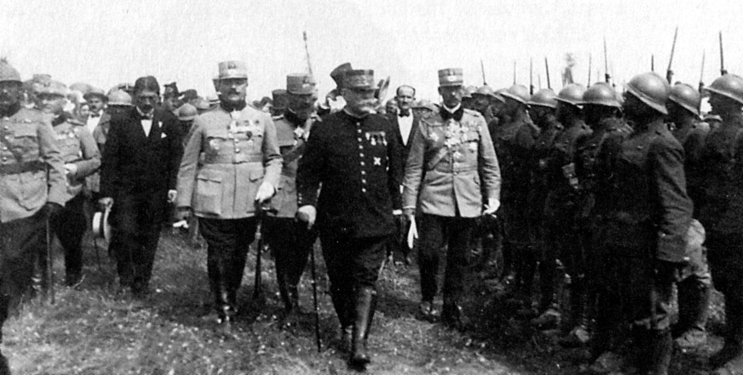 Marshal Joseph Joffre, center, commander of French forces, August 1914