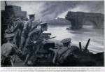 Painting from The War Illustrated of a battle in 1914 Belgium