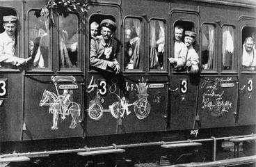 German troops depart for the front by train, August 1914