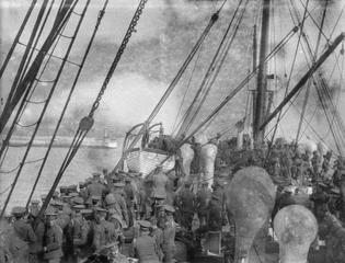 British troop ship nears Le Havre, France. August 1914