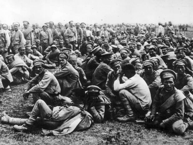 Russian prisoners-of-war at Battle of Tannenberg, August 1914.