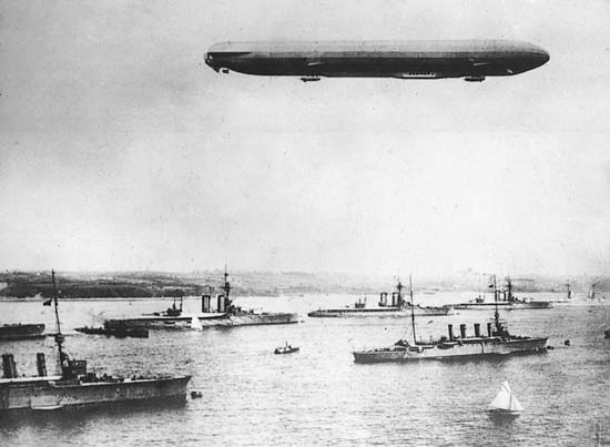 German Zeppelin and warships on maneuvers during World War One