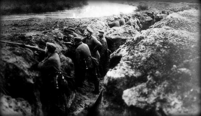German trenches at the Aisne in France, September 1914