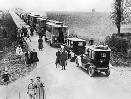 French use taxis to shuttle fresh troops from Paris to the Battle of the Marne, September 1914