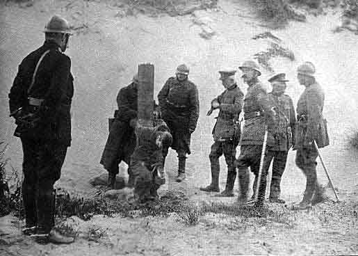 French soldier apparently executed by firing squad with officers looking on, date unknown