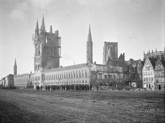 Damage to medieval buildings at Ypres, caused by German artillery shelling.