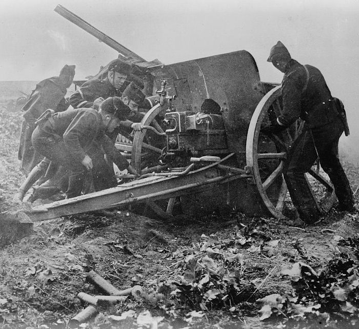 Belgian artillery unit resisting German onslaught, Antwerp, October 1914.