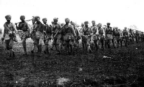 Regiment of Indian troops at Ypres, Belgium, October 1914