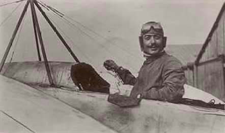 Roland Garros, one of the first French combat pilots in World War One. Date and place uncertain.