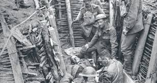 British soldiers in the trenches, date and place uncertain.