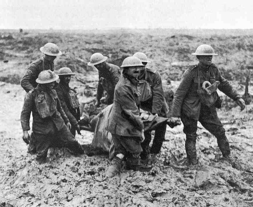 Australian stretcher bearers trapped in mud, Battle of Ypres, Belgium