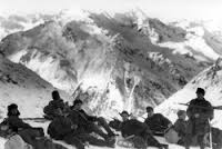 Fighting in the snow bound Caucasus mountains.