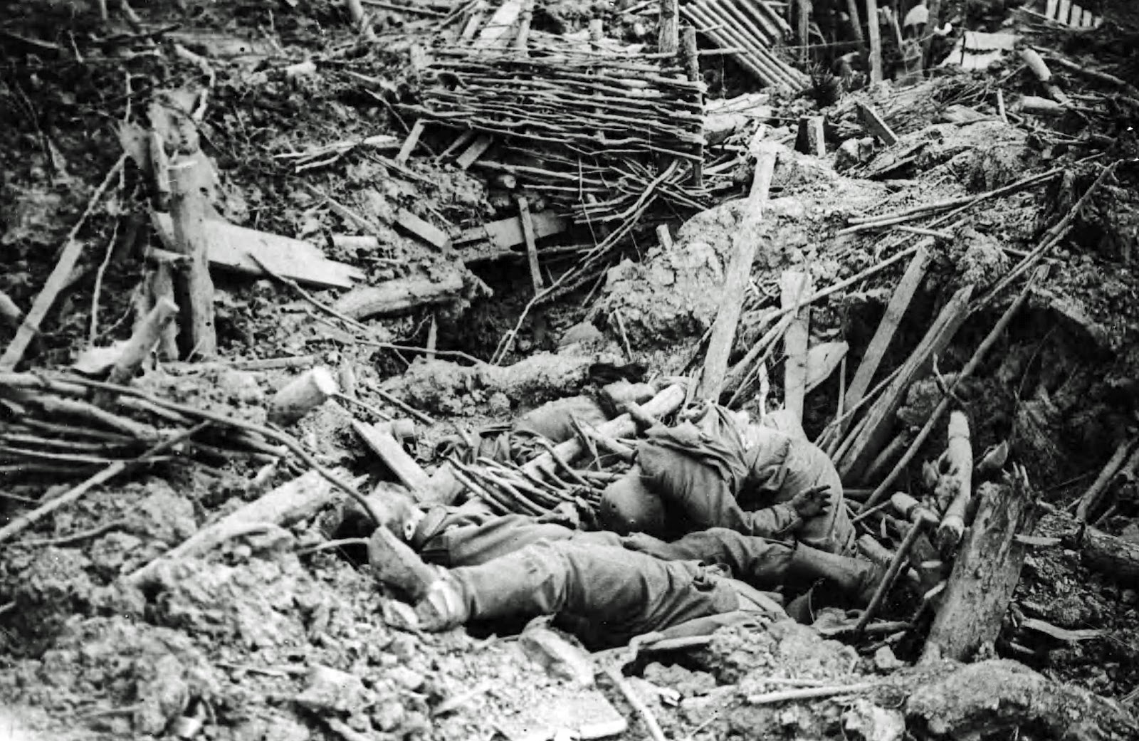 Destroyed German trenches, date and place uncertain