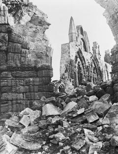 The rubble at Whitby Abbey, Yorkshire, result of German naval bombardment, 16 December 1914.