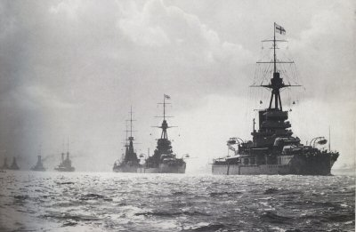 British warships patrol the seas, defeat the Germans in the Falkland Islands.