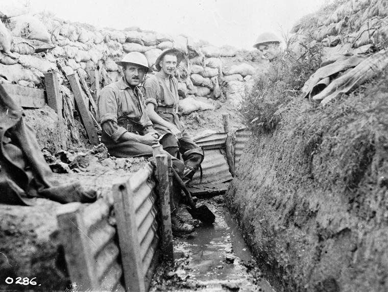 British solders in the muck of trench warfare, Western Front, date uncertain