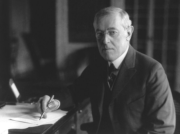 U.S. President Woodrow Wilson at his desk at the White House.