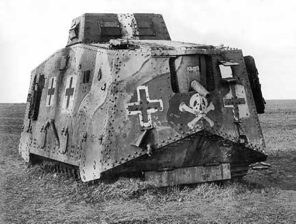 An early tank in the war, not very mobile.