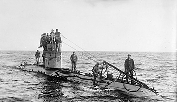 German U-boat in World War One. Submarines became a potent weapon for the Germans.
