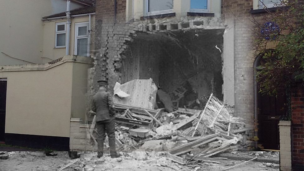 Damage in Norfolk from first bombing of British soil, January 1915