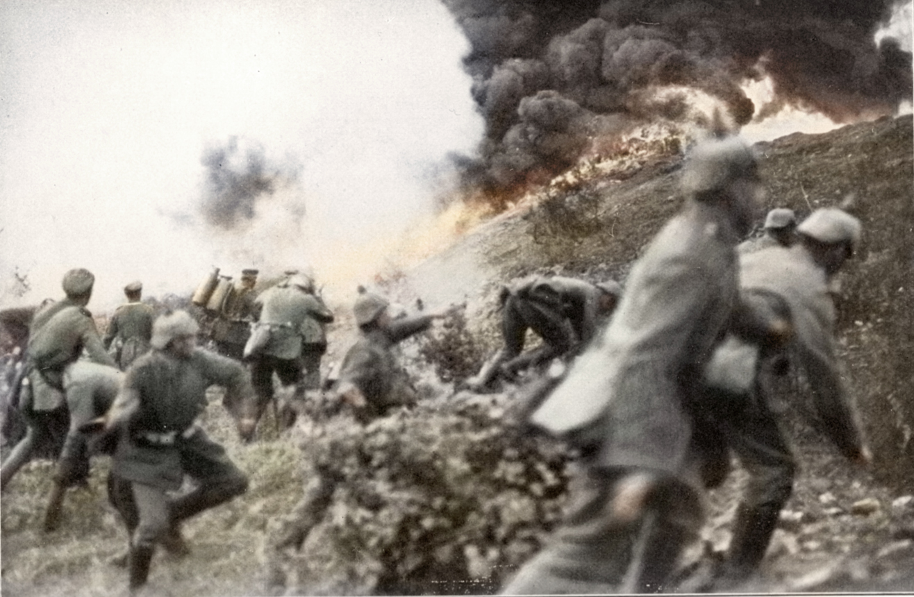 The Germans introduce flamethrowers, here at the town of Verdun, 1915