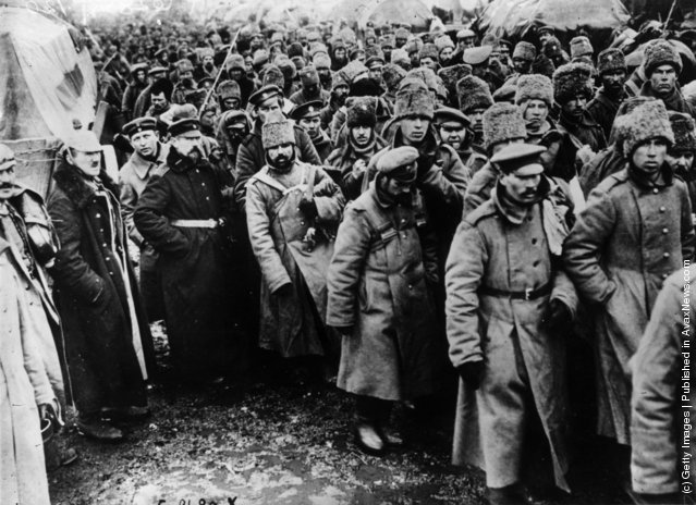 Russian prisoners in the battle of the Masurian Lakes, date uncertain, 1915.