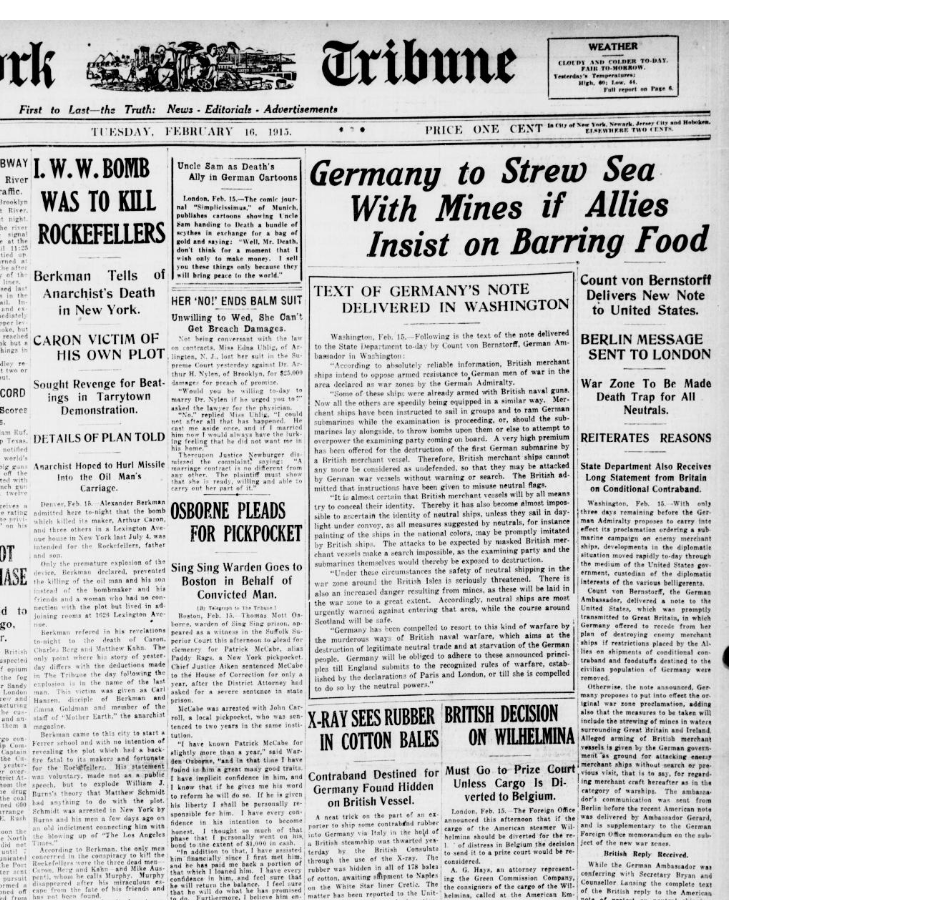 Front page of the New York Tribune on February 17th, 1915.