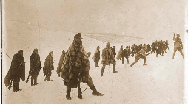Austrian troops advance in deadly snow and ice, date uncertain, probably 1915