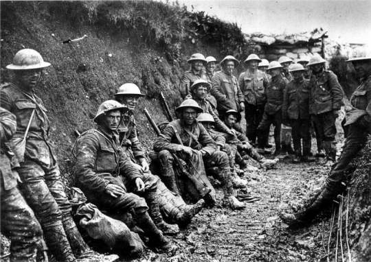 British troops in the trenches on the stalemated Western Front, date and place uncertain.