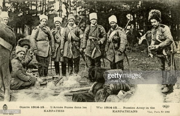 Russian Troops in the Carpathian Mountains, 1915.