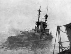Sinking British warship at the Dardanelles, March 18, 1915