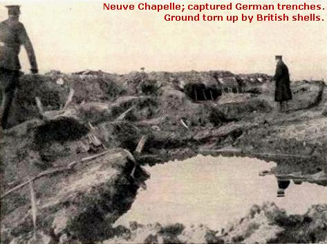 The battlefield in the British offensive at Neuve Chapelle, March 1915.