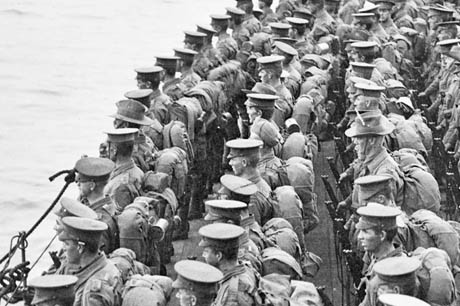 Allied troops waiting to land at Gallipoli, April 1915