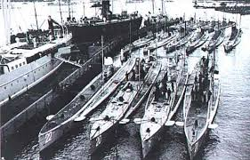U-boats of the German submarine fleet in port, date uncertain