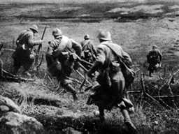 Allied soldiers at the second battle of Ypres, Belgium, April 1915.