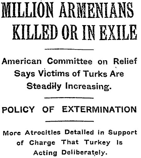 New York Times headlines the slaughter of Armenians in Turkey, late 1915.