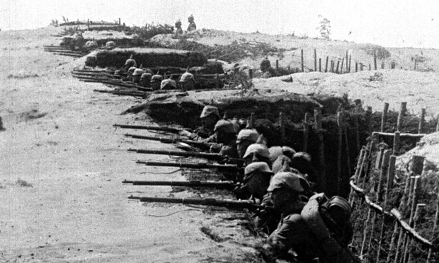 German troops in their trenches on Eastern Front in Poland 1915.