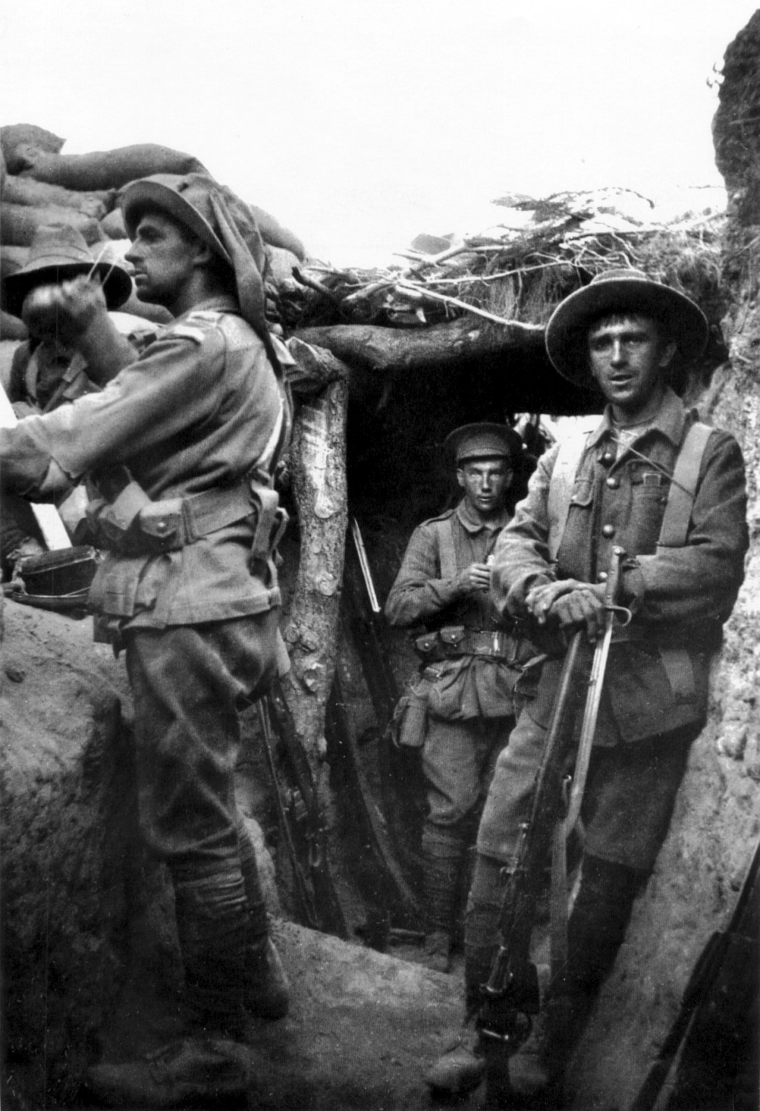 Australian troops in the trenches at Gallipoli, 1915.