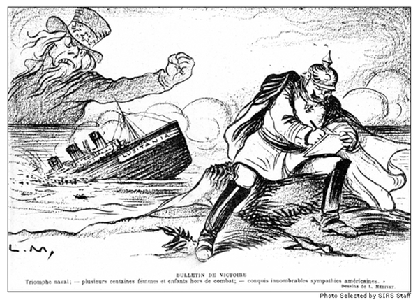 A newspaper cartoon depicting American anger at German attack on the Lusitania.