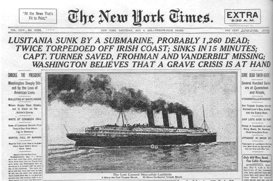 Front page of the New York Times reporting the sinking of the Lusitania.