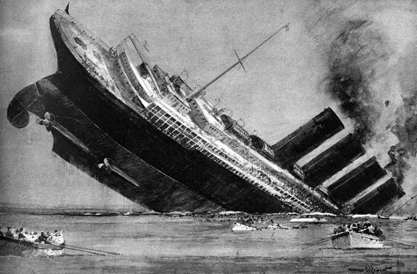 Artist rendering of the sinking of the Lusitania.