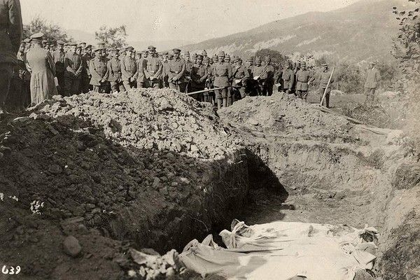 Austrian troops at site of mass grave on Eastern Front spring 1915.