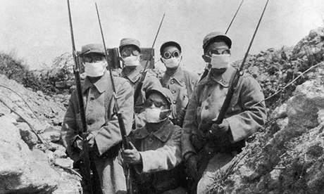 French troops wearing  primitive gas masks at Second Battle of Ypres, May 1915.