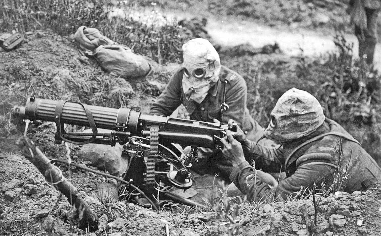 British machine-gunners with rudimentary gas masks at Second Battle of Ypres, May 1915.