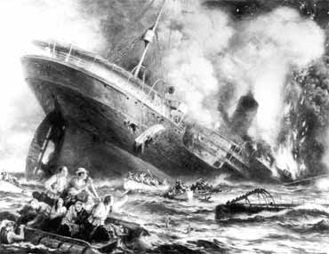 An artist's rendering of the sinking of the Lusitania in torpedo attack.