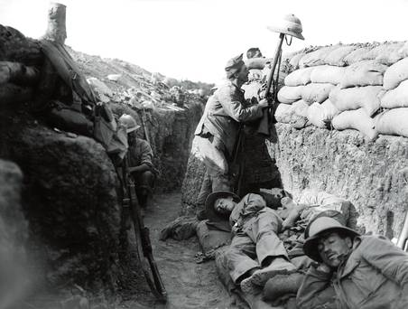 At Gallipoli, Allied troops attempt to draw sniper fire, spring 1915.
