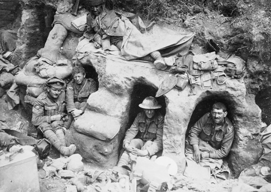 Allied troops dug in at Gallipoli, circa 1915.
